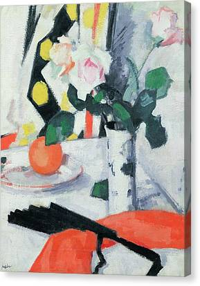 Roses In A Chinese Vase With Black Fan Canvas Print by Samuel John Peploe