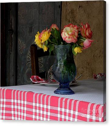 Canvas Print featuring the photograph Roses In Blue Glass Vase by Lainie Wrightson
