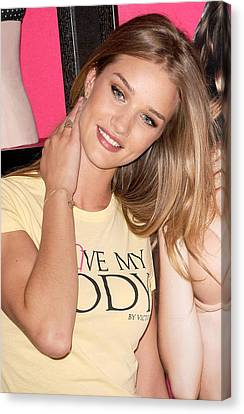 Rosie Huntington-whiteley At In-store Canvas Print by Everett
