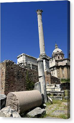 Rostra. Column Of Phocas And Septimius Severus Arch In The Roman Forum. Rome Canvas Print by Bernard Jaubert