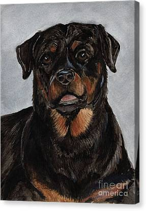 Canvas Print featuring the painting Rottweiler  by Nancy Patterson