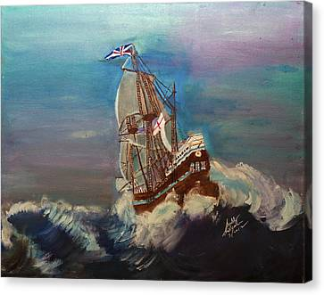 Canvas Print featuring the painting Rough Seas by Swabby Soileau