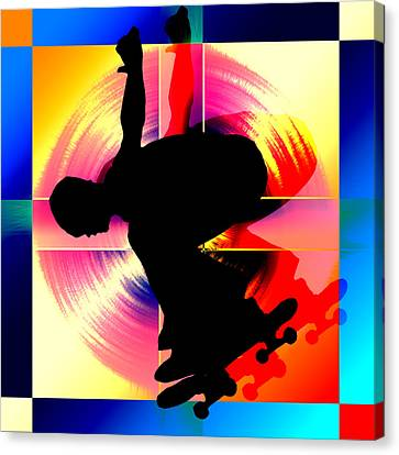 Round Peg In Square Hole Skateboarder Canvas Print by Elaine Plesser