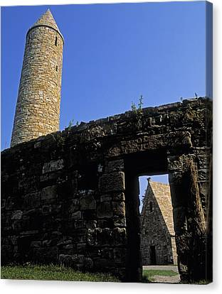 Round Tower And Chapel, Ulster History Canvas Print by The Irish Image Collection