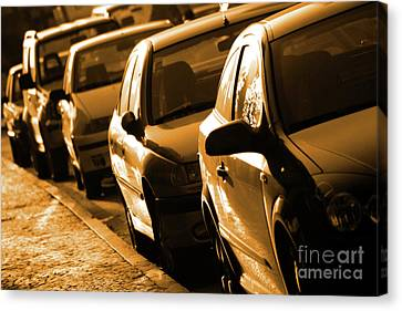Row Of Cars Canvas Print by Carlos Caetano