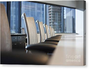 Row Of Chairs And A Table In A Conference Room Canvas Print by Jetta Productions, Inc