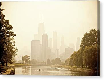 Rower In Mist With Downtown Chicago In The Background Canvas Print