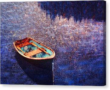 Rowing Dinghy In Maine Waters Canvas Print by Bryan Allen