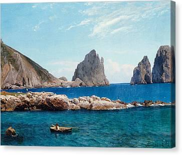 Rowing Off The Rocks Canvas Print by Albert Bierstadt