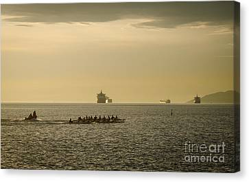 Rowing Training Off Sunset Beach Park False Creek Vancouver Bc Canada Canvas Print by Andy Smy
