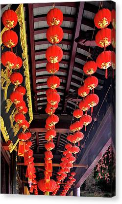 Rows Of Red Chinese Paper Lanterns - Shanghai China Canvas Print