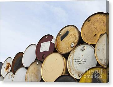Rows Of Stacked Barrels Canvas Print by Paul Edmondson