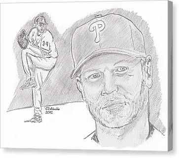 Canvas Print featuring the drawing Roy Halladay by Chris  DelVecchio