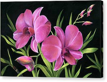 Canvas Print featuring the painting Royal Pink Orchids by Nancy Tilles