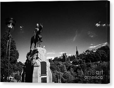 Royal Scots Greys Boer War Monument In Princes Street Gardens Edinburgh Scotland Uk United Kingdom Canvas Print by Joe Fox