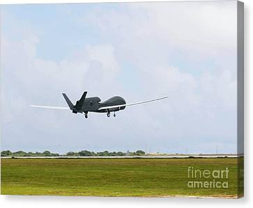 Rq-4 Global Hawks First Flight Canvas Print by Photo Researchers