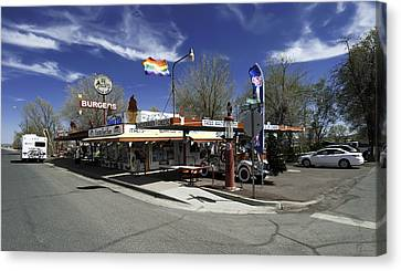 Canvas Print featuring the photograph Rt 66 Snow Cap Dinner by Paul Plaine