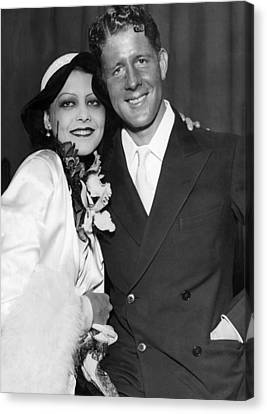 Rudy Vallee Right, And His Wife, Fay Canvas Print by Everett