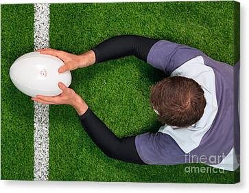 Rugby Player Scoring A Try With Both Hands. Canvas Print by Richard Thomas