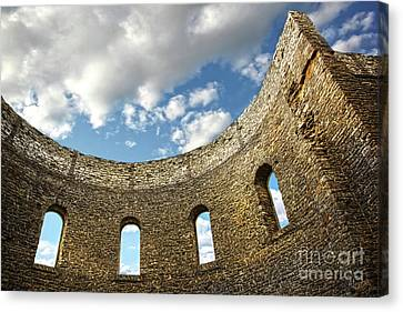 Ruin Wall With Windows Of An Old Church  Canvas Print by Sandra Cunningham
