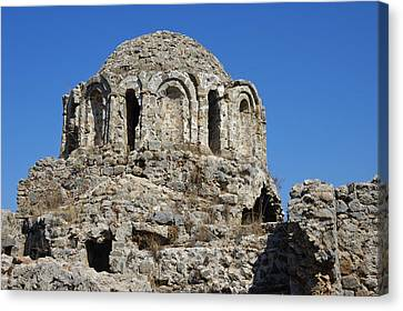 Ruins Of Byzantine Basilica Alanya Castle Turkey Canvas Print by Matthias Hauser