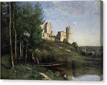 Ruins Of The Chateau De Pierrefonds Canvas Print by Jean Baptiste Camille Corot