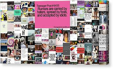 Canvas Print featuring the digital art Rumors Equal Haters by Holley Jacobs