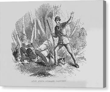 Antislavery Canvas Print - Runaway Slave With Armed Slave Catcher by Everett