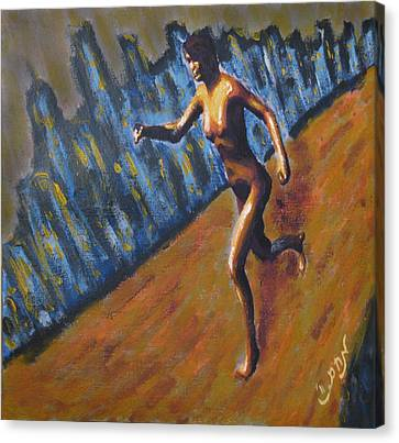 Running Nude Female Goddess On The Muddy Skyline Of Chicagos Lakefront Canvas Print