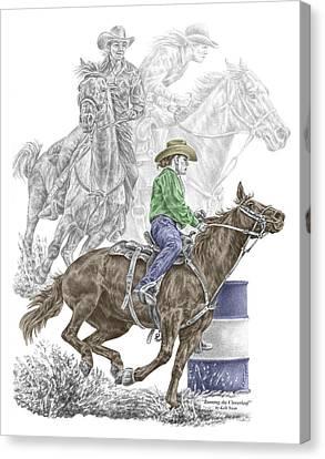 Running The Cloverleaf - Barrel Racing Print Color Tinted Canvas Print by Kelli Swan