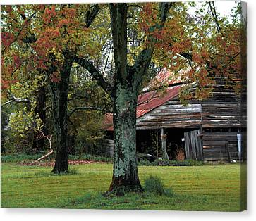 Rural Barn Fall South Carolina Landscape Canvas Print by Kathy Fornal