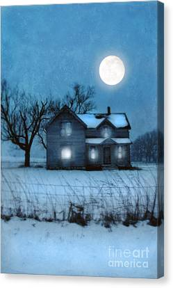 Rural Farmhouse Under Full Moon Canvas Print by Jill Battaglia
