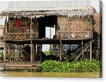 Bamboo House Canvas Print - Rural Fishermen Houses In Cambodia by Artur Bogacki