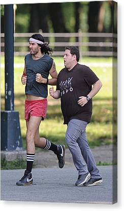 Russell Brand, Jonah Hill On Location Canvas Print