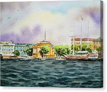 Russia Saint Petersburg Neva River Canvas Print by Irina Sztukowski