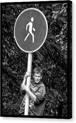 Canvas Print featuring the photograph Russian Boy On Sign by Rick Bragan