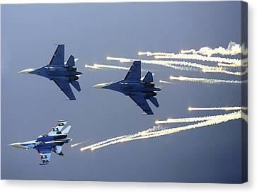 Russian Knights Aerobatic Team Canvas Print by Ria Novosti