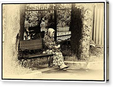 Canvas Print featuring the photograph Russian Woman In Park by Rick Bragan