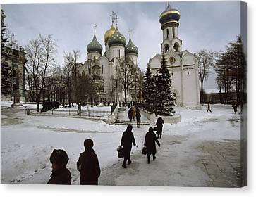 Russian Women, Dressed In Black, Walk Canvas Print by James L. Stanfield
