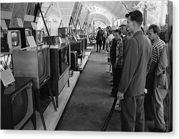 Observer Canvas Print - Russians Looking At Television Sets by Everett