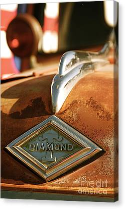 Rusted Antique Diamond Car Brand Ornament Canvas Print by ELITE IMAGE photography By Chad McDermott