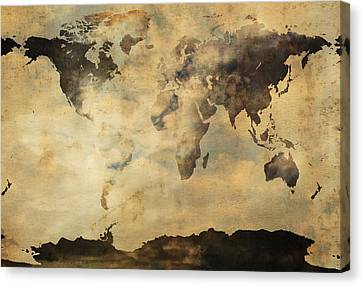 Rusted Metal World Map Canvas Print by Stephen Walker