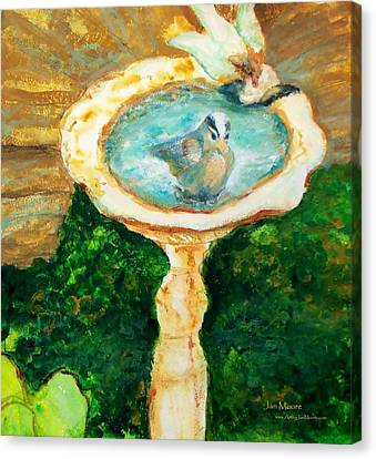 Rustic Birdbath Canvas Print by Jan Moore