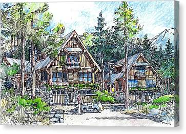 Canvas Print featuring the drawing Rustic Cabins by Andrew Drozdowicz