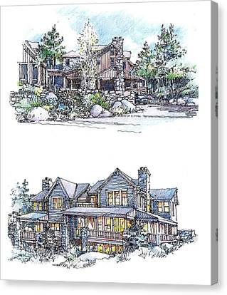 Canvas Print featuring the drawing Rustic Home by Andrew Drozdowicz