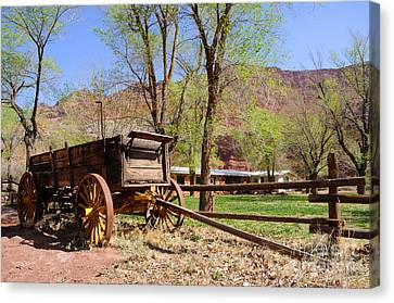 Rustic Wagon At Historic Lonely Dell Ranch - Arizona Canvas Print by Gary Whitton