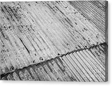 Rusting Repaired Corrugated Iron Roof Sheeting In Edinburgh Canvas Print by Joe Fox