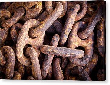 Rusty Anchor Chains In Key West Canvas Print by Adam Pender