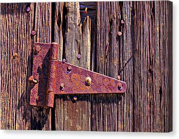 Rusty Barn Door Hinge  Canvas Print by Garry Gay