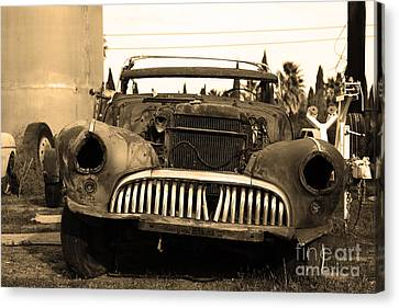 Rusty Old American Car . 7d10343 . Sepia Canvas Print by Wingsdomain Art and Photography